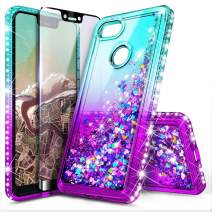 Google Pixel 3 XL Case with Tempered Glass Screen Protector for Girls Women, NageBee Glitter Bling Liquid Floating Quicksand Waterfall Sparkle Cute Case for Google Pixel 3 XL (2018) -Aqua/Purple