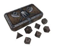 SkullSplitter Dice Metal Dice Solid Metal Polyhedral Role Playing Game (RPG) Dice Set (7 Die in Pack) with Box