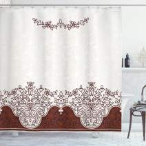 """Ambesonne Traditional Shower Curtain, Ornate Old Iranian Classical Frieze with Curved Flowers Traditional Art, Cloth Fabric Bathroom Decor Set with Hooks, 70"""" Long, Beige Brown"""