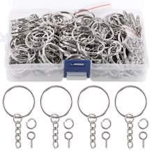 "Swpeet 450Pcs 1"" 25mm Sliver Key Chain Rings Kit, Including 150Pcs Keychain Rings with Chain and 150Pcs Jump Ring with 150Pcs Screw Eye Pins Bulk - Plastic Box or Cardboard Box Random Shipments"