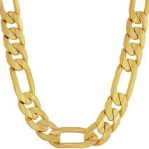 Lifetime Jewelry 9mm Figaro Chain Necklace 24k Real Gold Plated for Men and Teen with Free Lifetime Replacement Guarantee