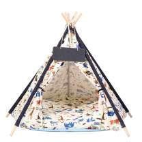 BingoPaw Pet Teepee with Luxury Cozy Cushion,Indoor Cute Cat House with Stable Structure & Strong Rope,Portable Puppy Tents with Blackboard for Puppy Kitten Washable,26 Inch Tall