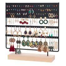 QILICHZ Earring Stand Holder 144 Holes Earring Organizer Ear Stud Holder Earring Tree Stand Jewelry Display Stand Holder Rack with Wooden Tray/Dish for Earrings Display Home Use 144 Holes