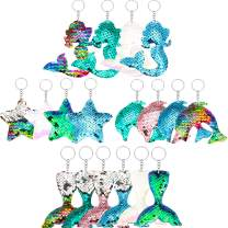 18 Pieces Reversible Mermaid Sequin Keychains Glitter Flip Sequin Keychains Animal Sequin Key Chains for Birthday Party Supplies, 4 Styles