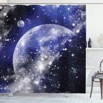 """Ambesonne Navy Blue Shower Curtain, Galaxy Nebula Full Moon Phase Starry Night Sky Infinity Space for Home and Dorms, Cloth Fabric Bathroom Decor Set with Hooks, 70"""" Long, Navy White"""