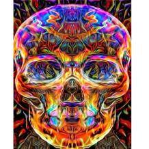 MXJSUA DIY 5D Diamond Painting by Number Kits Full Drill Rhinestone Pictures Arts Craft for Home Wall Decor,Colored Skull 12x16 inches