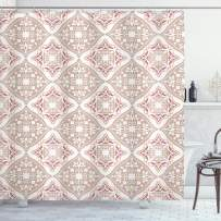 """Ambesonne Moroccan Shower Curtain, Pastel Colored Complex Tiles with Geometrical Shapes Persian Art, Cloth Fabric Bathroom Decor Set with Hooks, 75"""" Long, Beige Pink"""