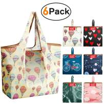 Reusable Grocery Shopping Bags Large Foldable Tote Groceries Bags with Pouch Bulk 6 Pack Ripstop Fabric Washable Durable Eco-Friendly Sturdy Shrink Proof