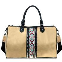 Large Travel Crossbody Duffle Bag With Conchos For Men Women Western Embroidered Aztec