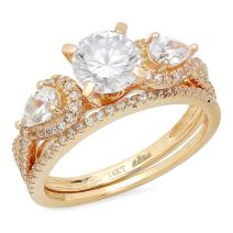 2.0CT Round And Pear Cut Simulated Diamond CZ Pave Halo Bridal Engagement Wedding Ring band set 14k Yellow Gold