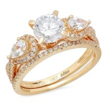 2.10 CT Round And Pear Cut CZ Pave Halo Solitaire Classic Designer Ring band set Solid 14k Yellow Gold