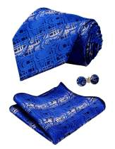 Alizeal Mens Solid Paisley Tie, Hanky and Cufflinks Set
