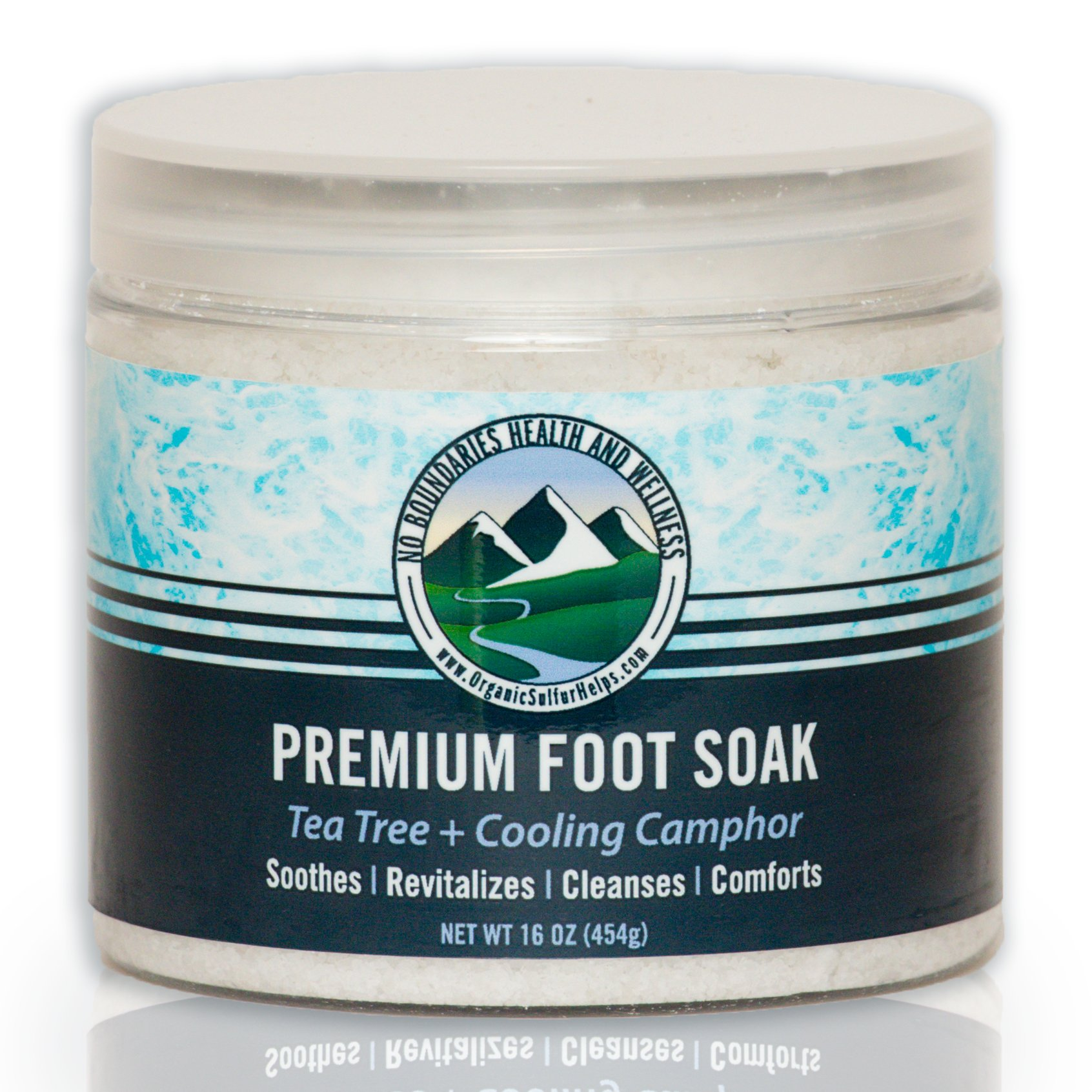 No Boundaries Health and Wellness Tea Tree Oil Foot Soak - Spa Quality at Home - Premium Blend of Soaking Salt, Aromatherapy Essential Oils and Our MSM Organic Sulfur. Best for Foot Soak Tub or Bath