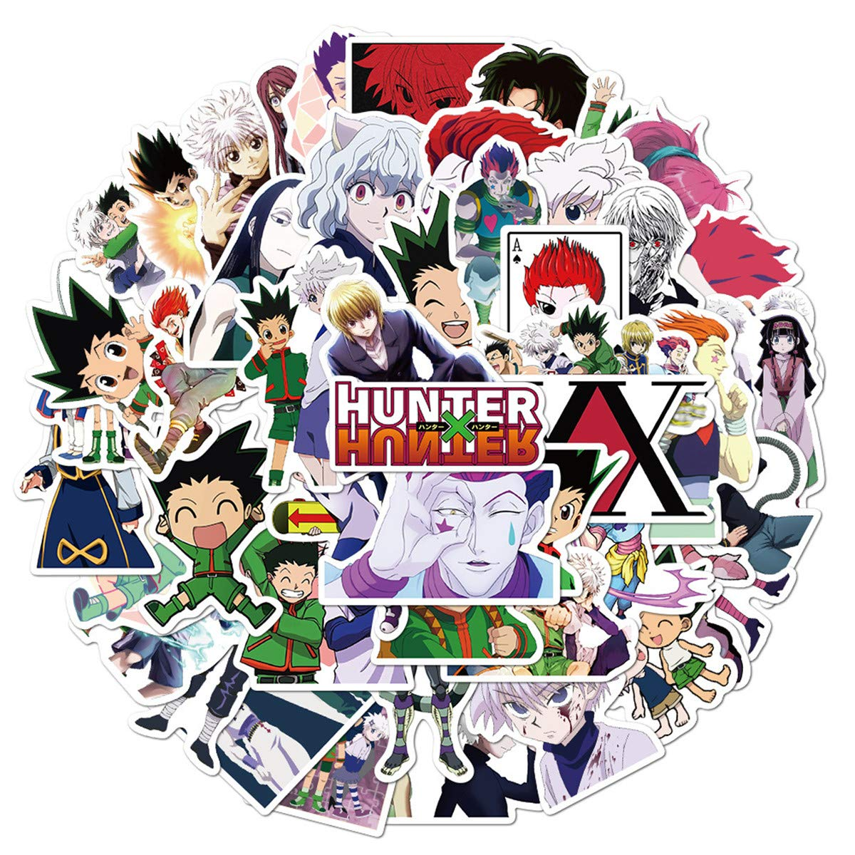 Japanese Cartoon Hunter X Hunter Stickers Pack 50 Pcs Decals of Anime Bumper Stickers Decals for Cars Motorcycle Portable Luggages Ipad Laptops Waterproof Sunlight-Proof (Hunter X Hunter)