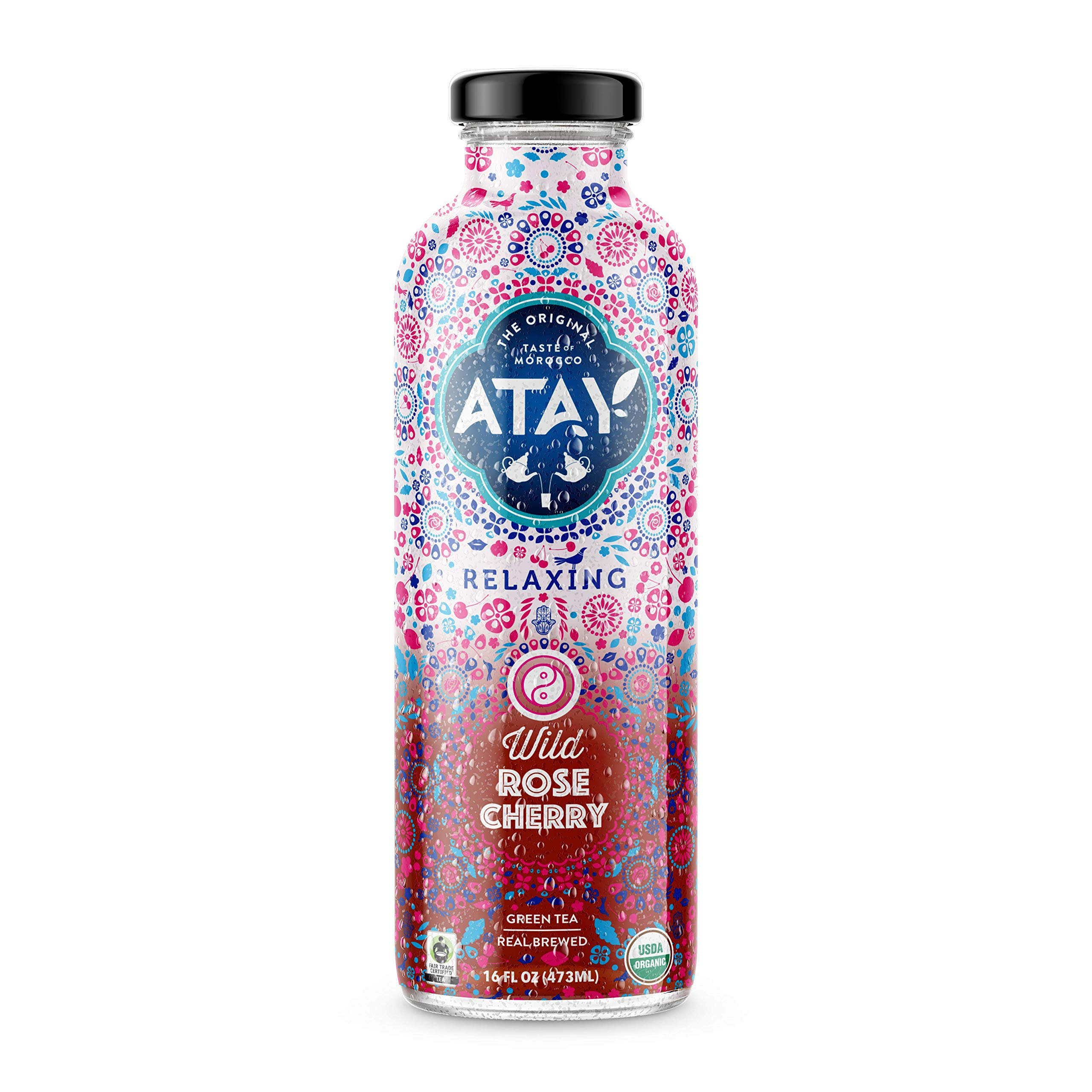 ATAY Moroccan Organic Rose Cherry Iced Tea - Made With Organic Pure Green Tea And All-Natural Organic Stevia Leaf Extract For A Delicious and Subtle Sweet Flavor - 16 Oz, 8 Pack