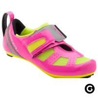 Louis Garneau Women's Tri X-Speed 3 Triathlon Bike Shoes, Pink Glow/Bright Yellow, US (6.5), EU (37)