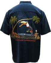 Bamboo Cay Mens Short Sleeve Toucan Lounge Embroidered Hawaiian Tropical Shirt