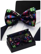 GUSLESON Mens Christmas Bow Tie Festival Pattern Double Fold Pre-tied Bowtie and Pocket Square Set with Gift Box