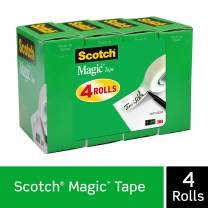 Scotch Magic Tape, Numerous Applications, Invisible, Cuts Cleanly, Engineered for Office and Home Use, 3/4 x 1000 Inches, Boxed, 4 Refill Rolls (810K4)
