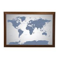 Push Pin Travel Maps Blue Ice World with Brown Frame and Pins - 27.5 inches x 39.5 inches