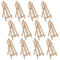 """U.S. Art Supply 18"""" Large Tabletop Display Stand A-Frame Artist Easel (Pack of 12), Beechwood Tripod, Painting Party Easel, Kids Student Table School Desktop, Portable Canvas Photo Picture Sign Holder"""