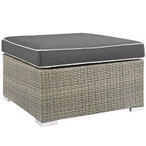 Modway Repose Wicker Rattan Outdoor Patio Ottoman wth Cushions in Light Gray Charcoal