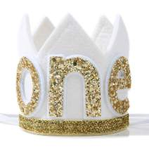 Baby ONE Crown for 1st Birthday - First Birthday Party Headband,Boy or Girl Glitter Crown, Newborn Photography Prop, Prince or Princess Souvenir and Gifts Prince or Princess Souvenir and(White Golden)