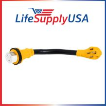 LifeSupplyUSA 2 Pack - 6/3 AWG + 8/1 AWG 30ft 125 Volt 50 AMP RV Cord With TWIST-LOCK Connector and Grip Handle, Hook and Loop Strap (14-50P/SS2-50R) 125/250V STW ETL 30 Feet