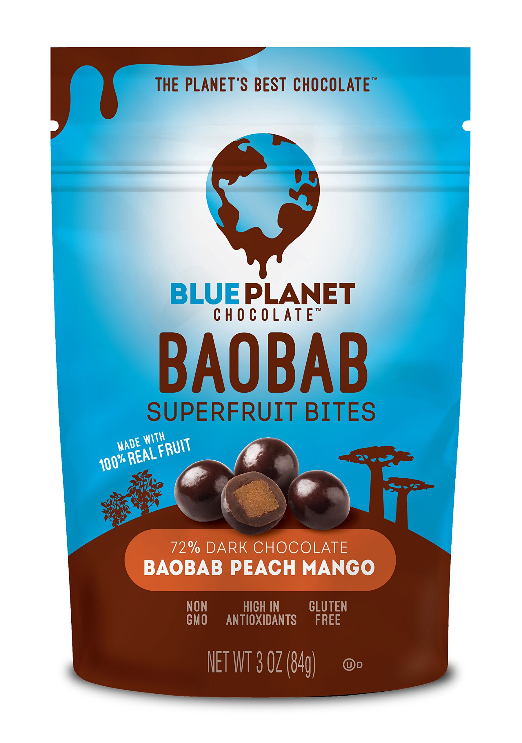 Blue Planet Chocolate Baobab Peach Mango Superfruit Bites (Pack of 4)
