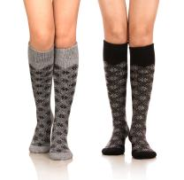 DoSmart Women's Winter Warm Knee High Socks Boot Socks 2-Pairs Multi Color