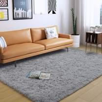 DweIke Soft Fluffy Shag Area Rugs for Living Room, Shaggy Floor Carpet for Bedroom, Girls Carpets Kids Home Decor Rugs,Cute Luxury Non-Slip Machine Washable Carpet ,3x5 Feet Grey