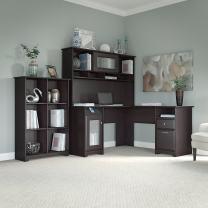 Bush Furniture Cabot L Shaped Desk with Hutch and 6 Cube Organizer in Espresso Oak