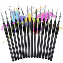 Detail Paint Brush Set 15PCS Mini Paint Brushes Miniature Paint Brushes Acrylic Oil Watercolor Brushes for Nail Art face Oil Painting Line Drawing