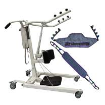Tuffcare Stand Up Electric Patient Lift - Sit to Stand, Standing Lift, Rhino Lift with Manual Low Base - with Standing Sling(Medium) and Buttock Strap, 360 lb. Weight Capacity