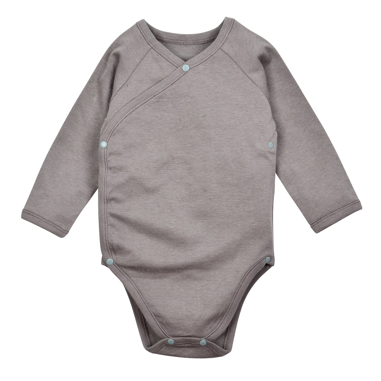 Dordor & Gorgor Baby Kimono Onesies, Organic Cotton (9M, Gray)