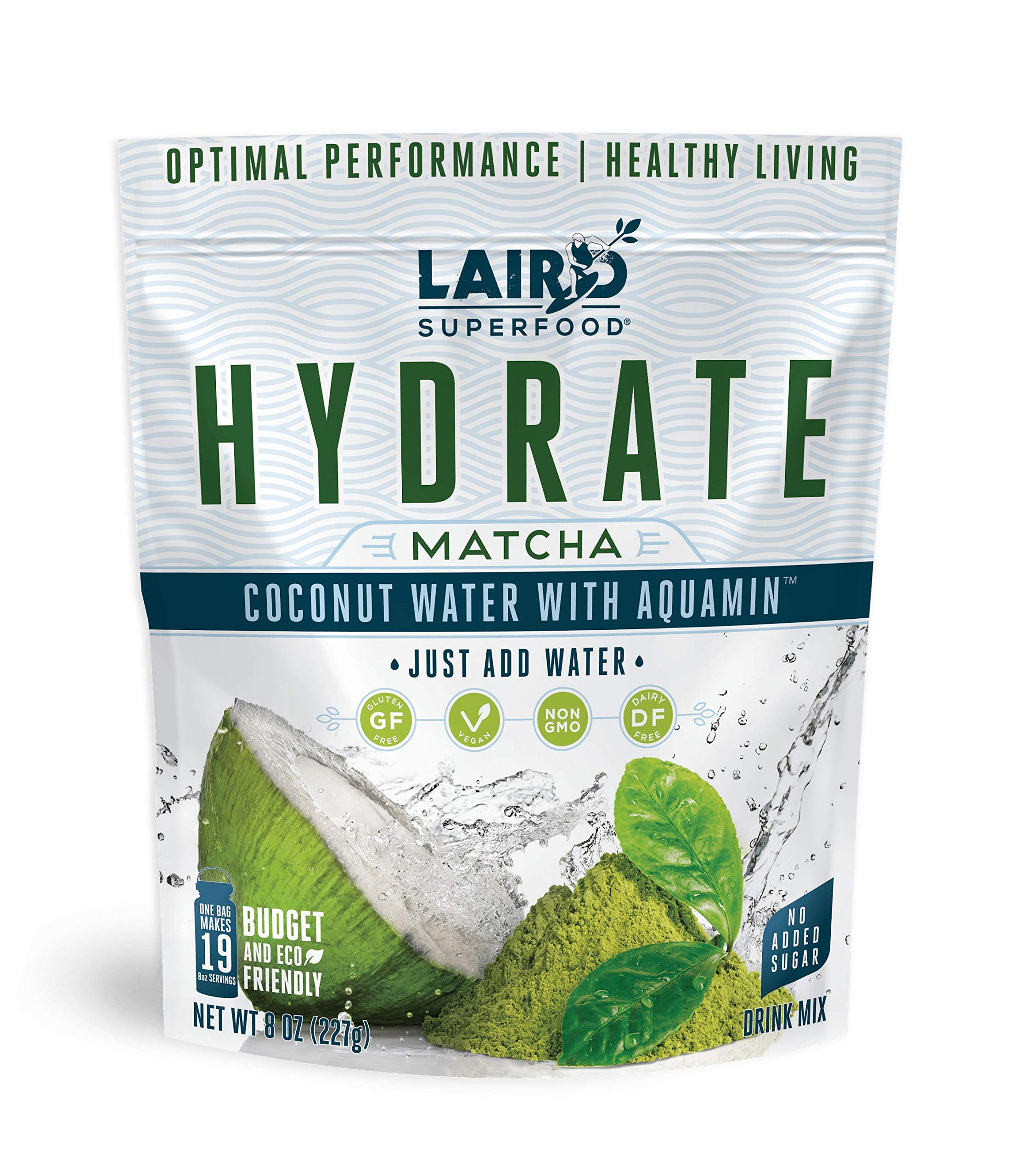 Laird Superfood Hydrate Coconut Water Matcha - Electrolyte Powder Hydration Drink Mix, 8oz Bag