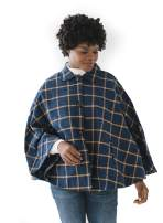 Hope & Henry Women's Button Front Woven Cape