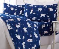 Great Bay Home Extra Soft Printed 100% Turkish Cotton Flannel Sheet Set. Warm, Cozy, Luxury Winter Bed Sheets. Belle Collection (King, Navy Polar Bears)