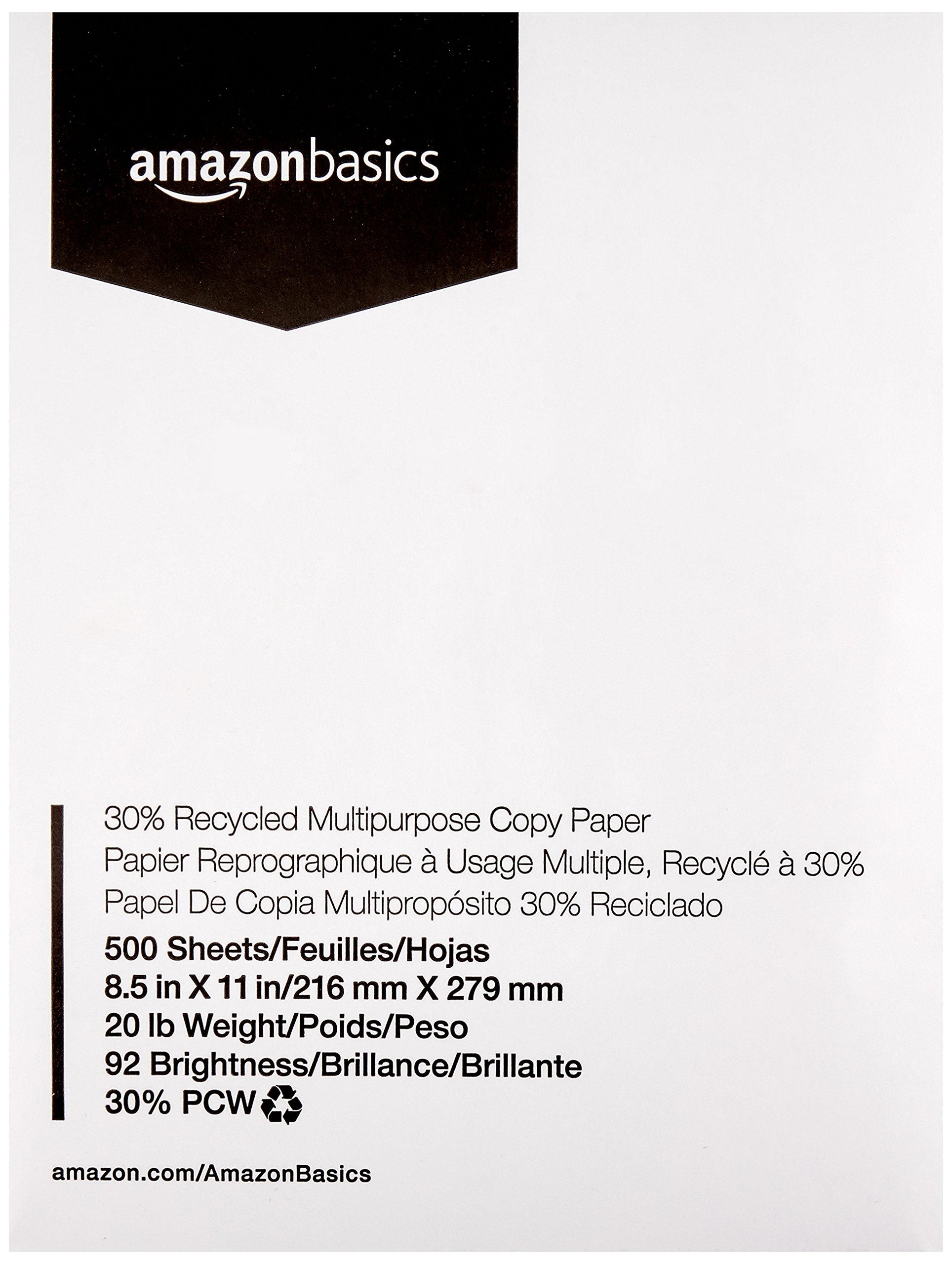 AmazonBasics 30% Recycled Multipurpose Copy Printer Paper - 8.5 x 11 Inches, 1Ream (500 Sheets)