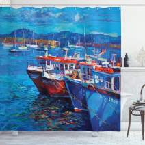 """Ambesonne Country Shower Curtain, Sail Boats Ships on The Shore Harbor by The Sea Small Rural Fishing Town Artwork, Cloth Fabric Bathroom Decor Set with Hooks, 70"""" Long, Navy Red"""