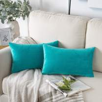 Phantoscope Pack of 2 Velvet Decorative Throw Pillow Covers Soft Solid Square Cushion Case for Couch Lake Blue 12 x 20 inches 30 x 50 cm