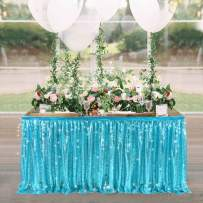 6ft Baby Blue Sequin Table Skirts for Rectangle Tables or Round Tables Ruffle Sequin Table Clothes for Baby Shower Birthday Mermaid Party Wedding Banquet Table Decorations(L6(ft) H 30in, Baby Blue)