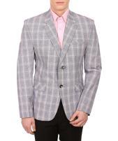 WINTAGE Men's Cotton Checkered All Season Notch Lapel Brown Blazer