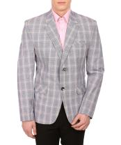 WINTAGE Men's Cotton Checkered All Season Notch Lapel Brown Blazer