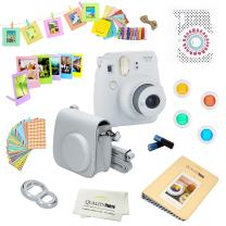 Fujifilm Instax Mini 9 Camera + 14 PC Instax Accessories kit Bundle, Includes; Instax Case + Album + Frames & Stickers + Lens Filters + More (Smokey White)