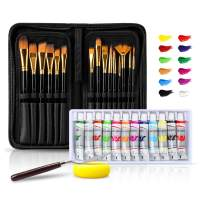 Lsnisni Paint Brush Set with 15 Different Sizes Artist Brushes and 12 Color Acrylic Watercolor Oil Gouache Paint, Pallete Knife and Standable Organizing Case, Nylon Hair and Non Slip Matte Handles