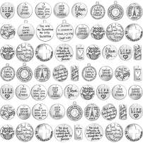 Hicarer Inspiration Words Charms Craft Supplies Pendants Beads Charms Pendants for Jewelry Making Crafting Findings Accessory for DIY Necklace Bracelet (60 Pieces)