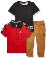 U.S. Polo Assn. Boys' Logo Polo, Solid T-Shirt, and Twill Jogger Set