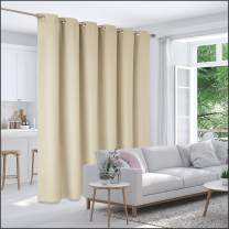 Deconovo Privacy Room Divider Curtain Thermal Insulated Blackout Curtains Extra Large Screen Partitions Room Darkening Panel for Patio Door, 10ft Wide x 9ft Tall 1 Panel Beige