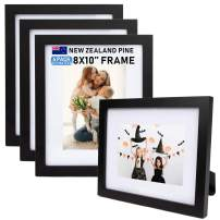 """Beyond Your Thoughts Wood + Real Glass (Hang/Stand) 8""""X10"""" Black Picture Photo Frame with Matted for 5""""X7"""" Photo for Wall and Table Top (4 Pack)"""